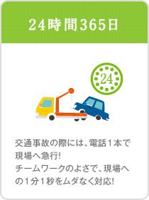 24時間365日。交通事故の際には、電話1本で現場へ急行!チームワークのよさで、現場への1分1秒をムダなく対応!